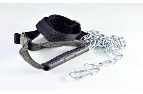 6.5 Feet Nylon Belt and Chain Leash with Choke Cha!